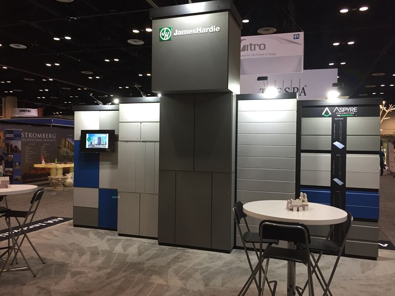 Photo of a closer view of a booth at the AIA show.