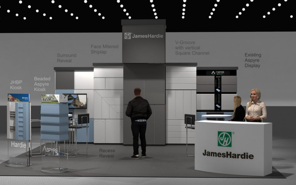 Rendering of a Trade show booth design for a 20' x 30' space.