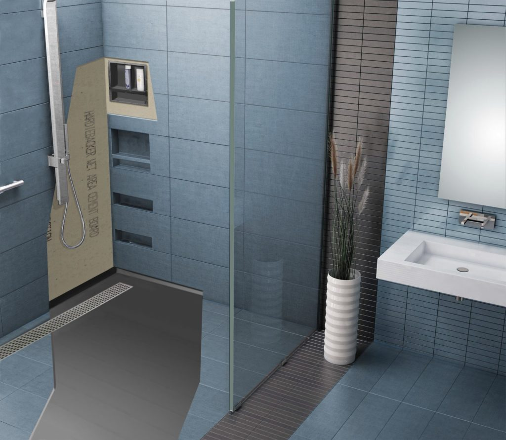 Illustration showing an application of HardieBacker used in a shower.