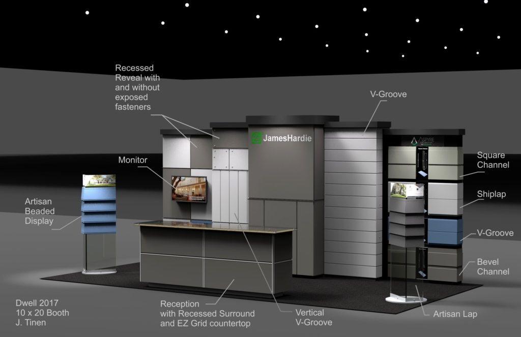 Rendering of a modular Booth design with lower height due to venue restrictions. A higher section could be used for venues that allowed for higher booths.