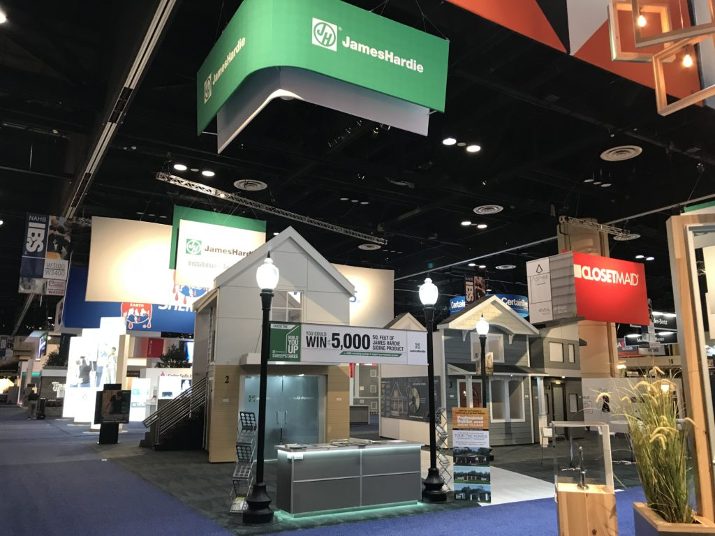 Photo of a large (50' x 60') tradeshow booth at IBS 2019.