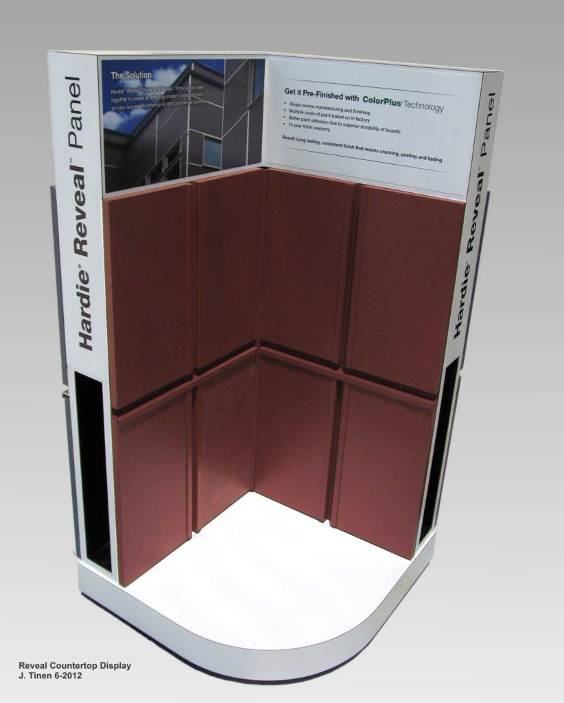 Photo of countertop rotating product kiosk.