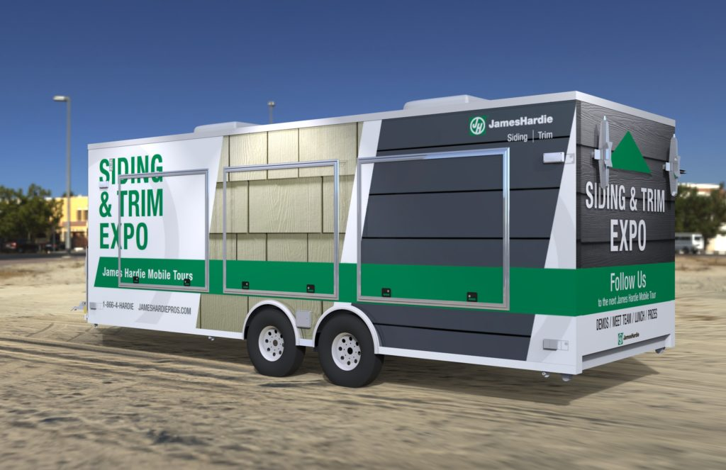 Rendering of a Product Display trailer with outside graphics.