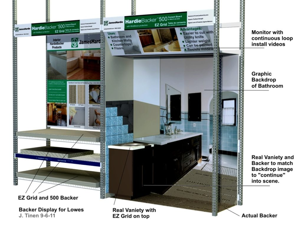 Concept rendering of a display in Home Depot that simulates a 3D visual of a bathroom using actual product and photography.