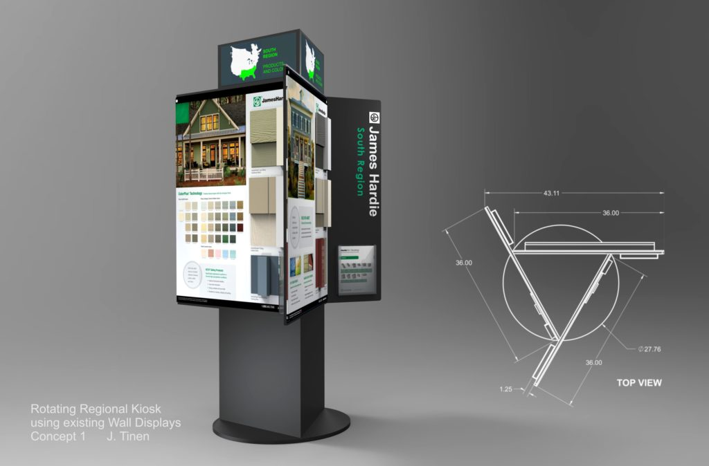 Rendering of Rotating Product Display Kiosk with interchangeable panels and a top graphic header.