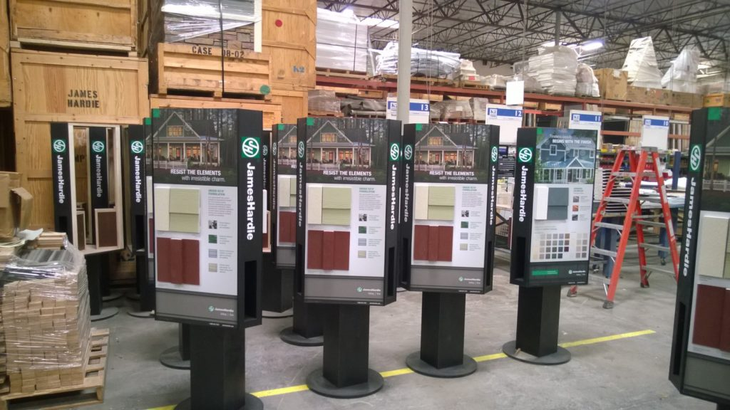 Photo of Rotating Product Display Kiosks fabricated and ready to be boxed for shipment.