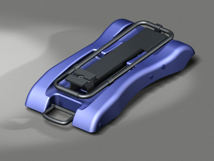 Rendering of a Plastic car jack for AC Delco.