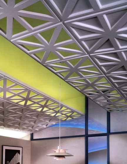 Photo of Cast Glass Reinforced Gypsum Ceiling panels. Some are open for visual effects.