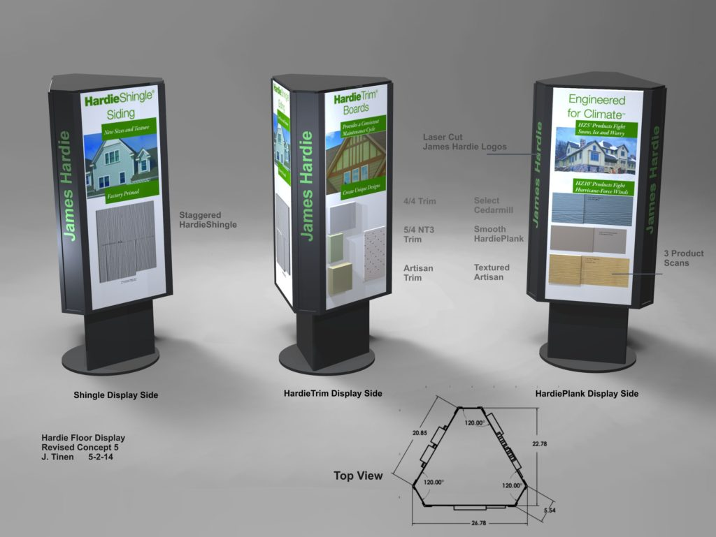 Rendering of a Rotating product display kiosk for Dealer Showrooms.