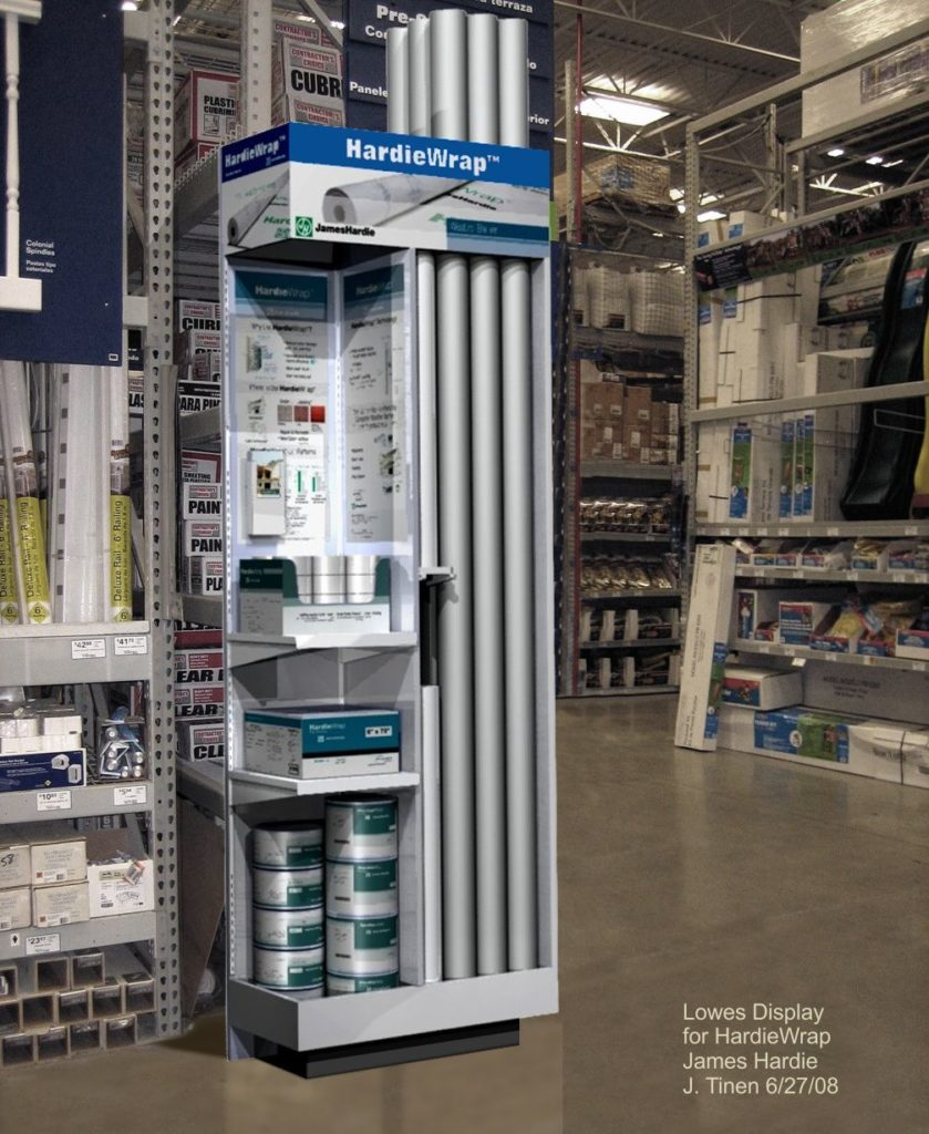 In-store display of Installation Accessories including large 9 foot long rolls for a weather barrier.