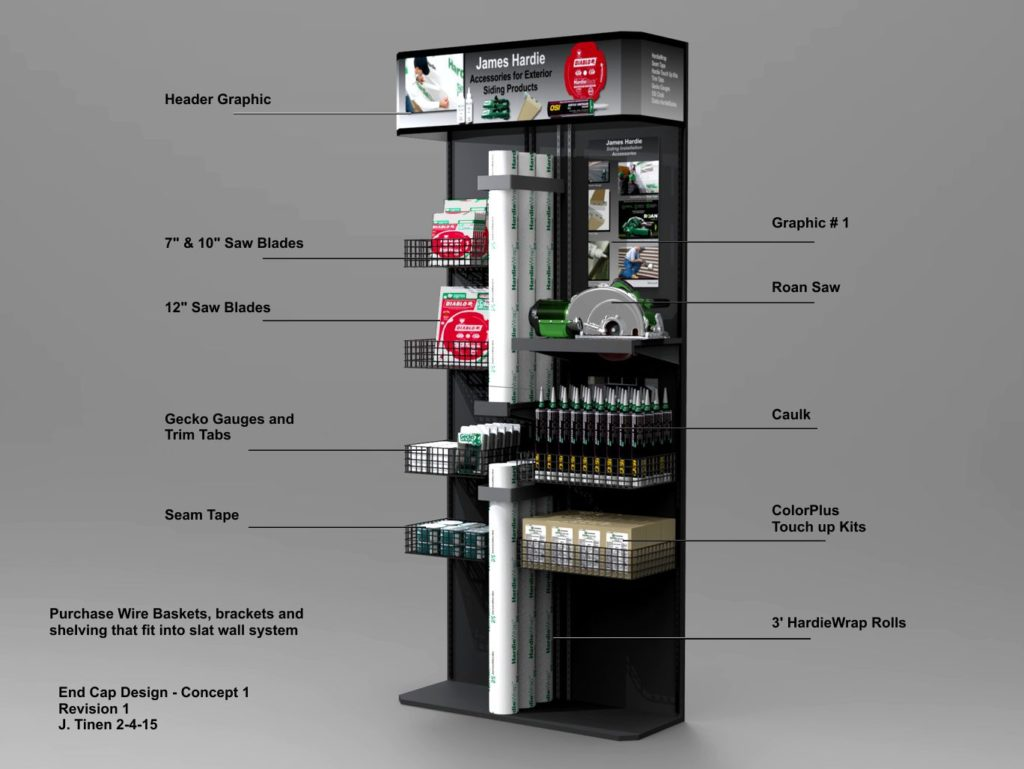 Rendering of End Cap Display for Big Box Retailers of installation accessories.