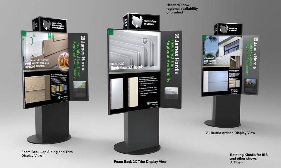 Rendering of Rotating Product Display with interchangeable panels. Each panel can be replaced.