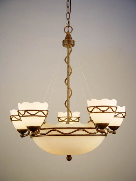 Photo of a chandelier with a bowl and five lights.