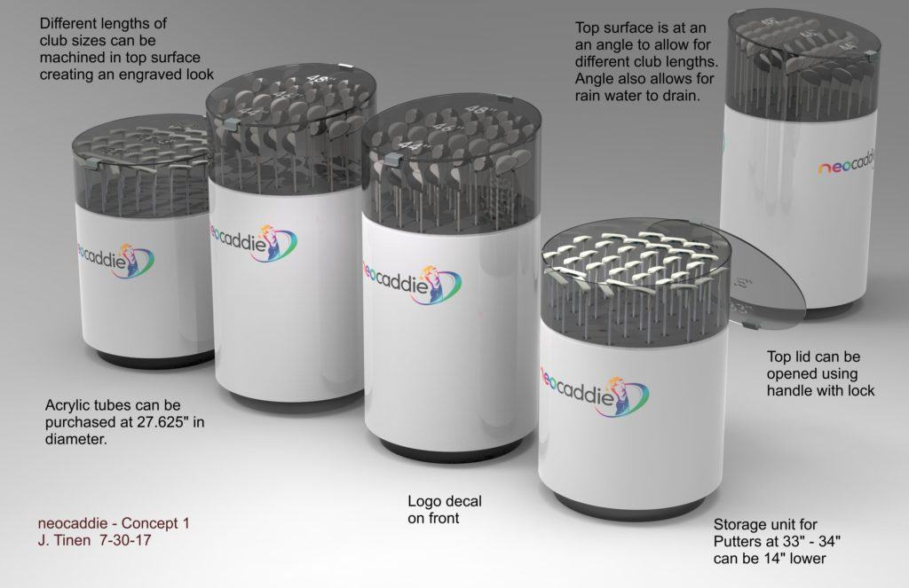 Concept rendering of a unit that dispenses golf clubs for rental or purchase. This is based on using large acrylic tubes for the main part of the display.
