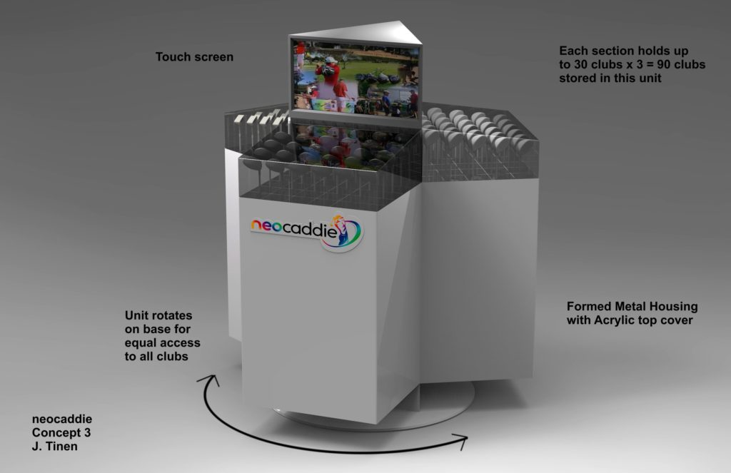 Concept rendering of a unit that dispenses golf clubs for rental or purchase.