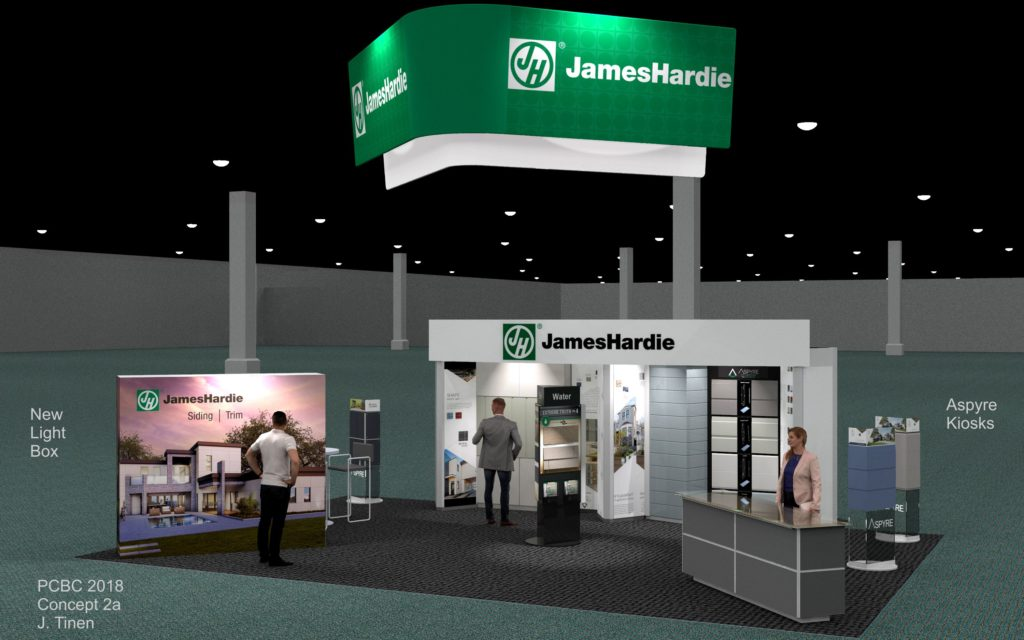 Rendering of Trade Show booth design of a High-End Product Line for 20' x 40' space.