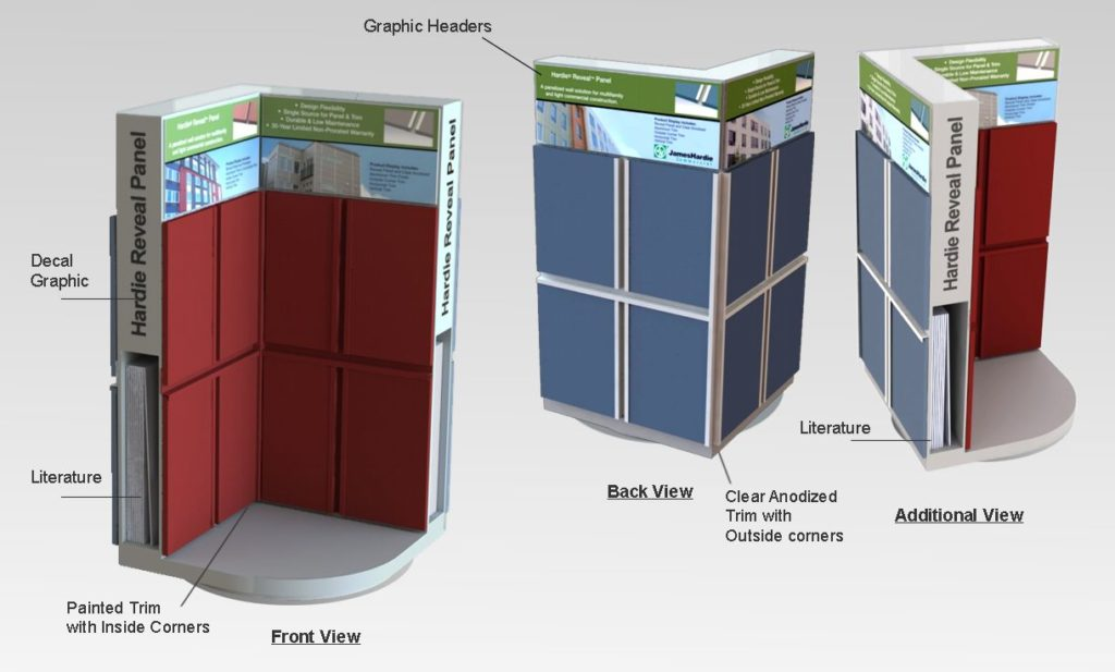 Rendering of Countertop rotating Product Display Kiosk showing how inside and outside corners are installed.