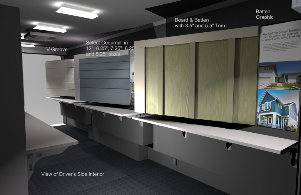 Rendering of Product Display Design for a large trailer.