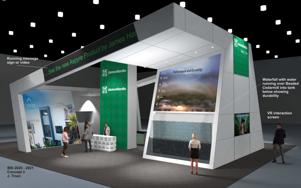 A design concept rendering of the front of the James Hardy trade show booth, International Builders Show (IBS) 2020.