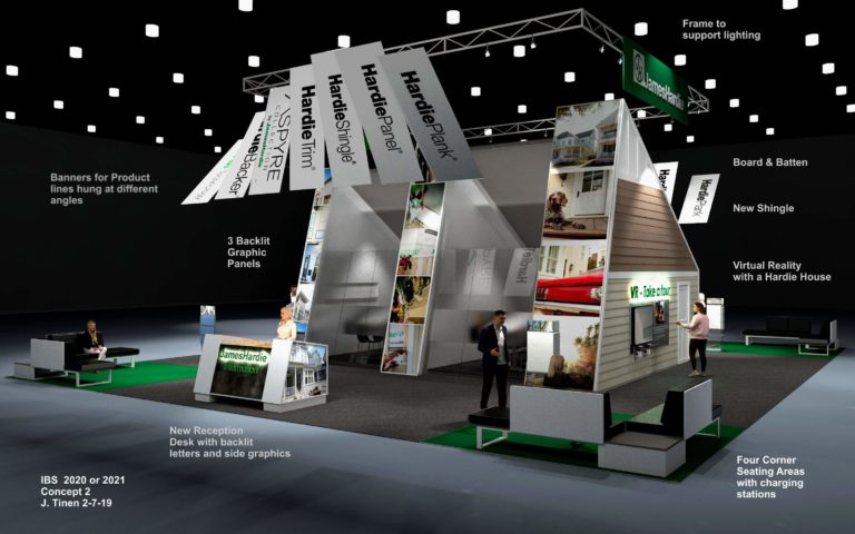 A concept rendering of the front of the James Hardy trade show booth, International Builders Show (IBS) 2020.