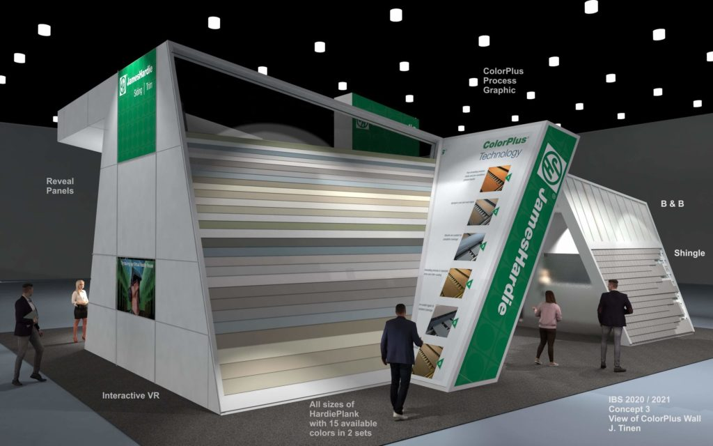 A concept rendering of the ColorPlus section of the James Hardy trade show booth, International Builders Show (IBS) 2020.