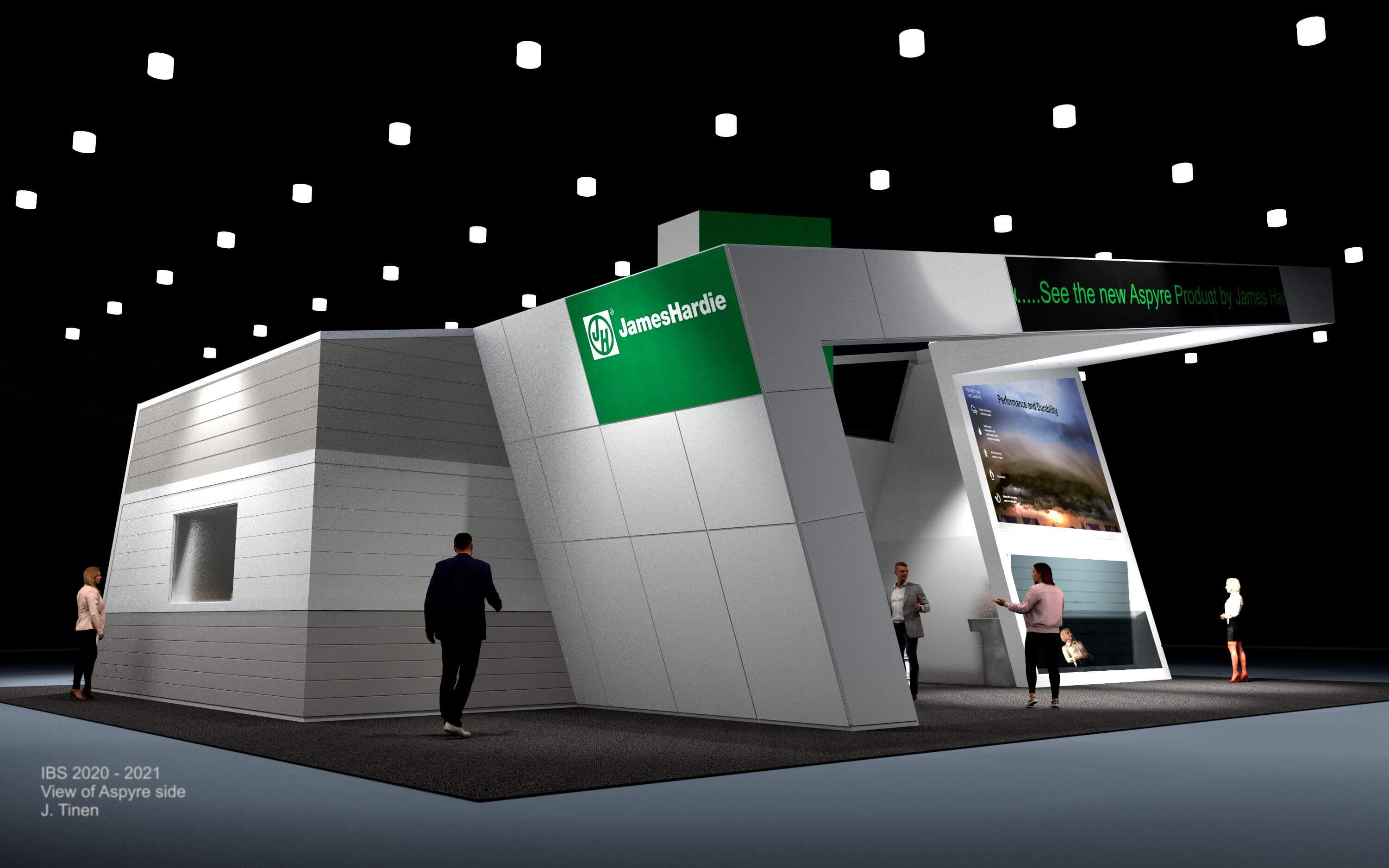 A concept rendering of the rear of the James Hardy trade show booth, International Builders Show (IBS) 2020.