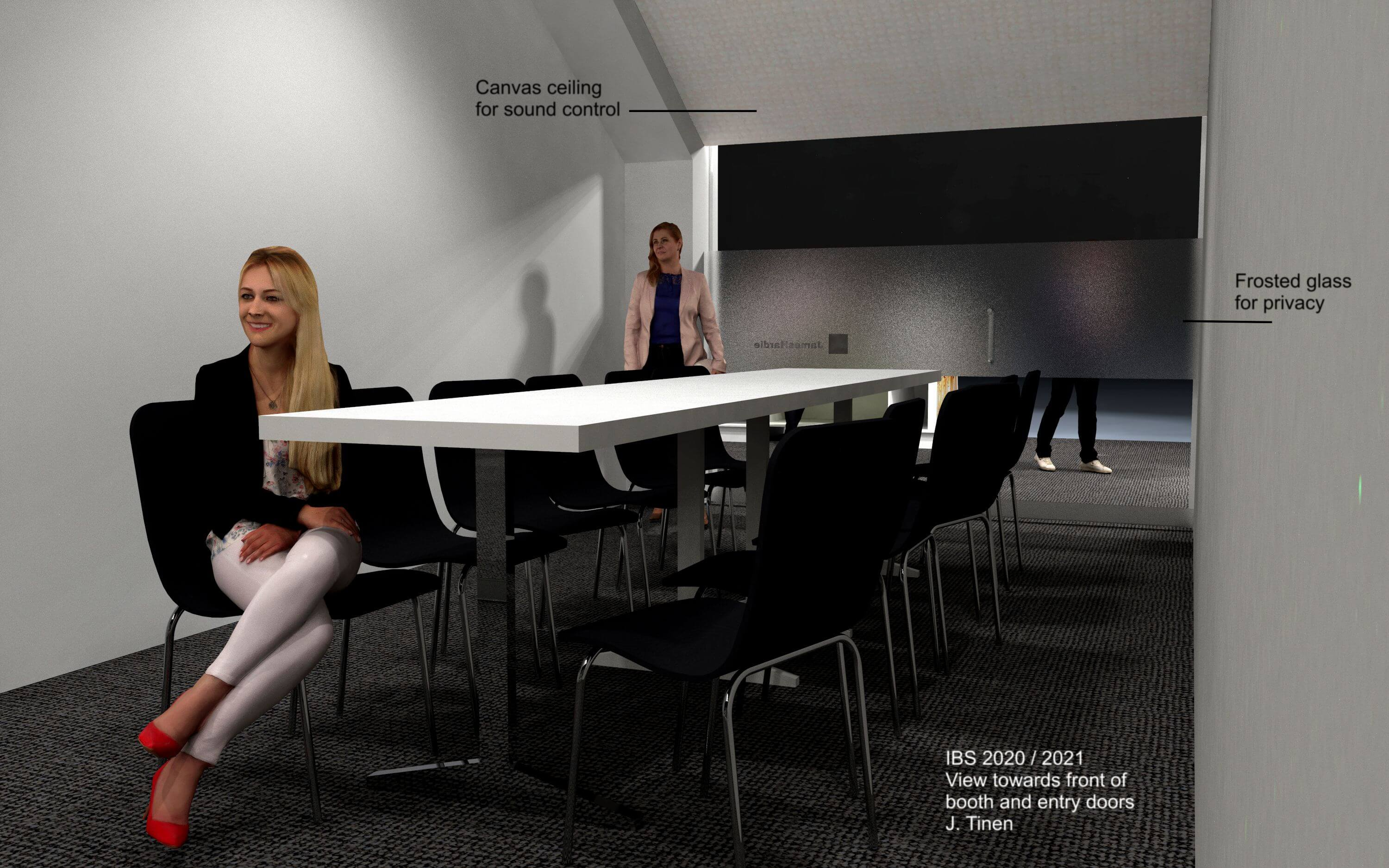 A concept rendering of the board room for the James Hardy trade show booth, International Builder's Show (IBS) 2020.