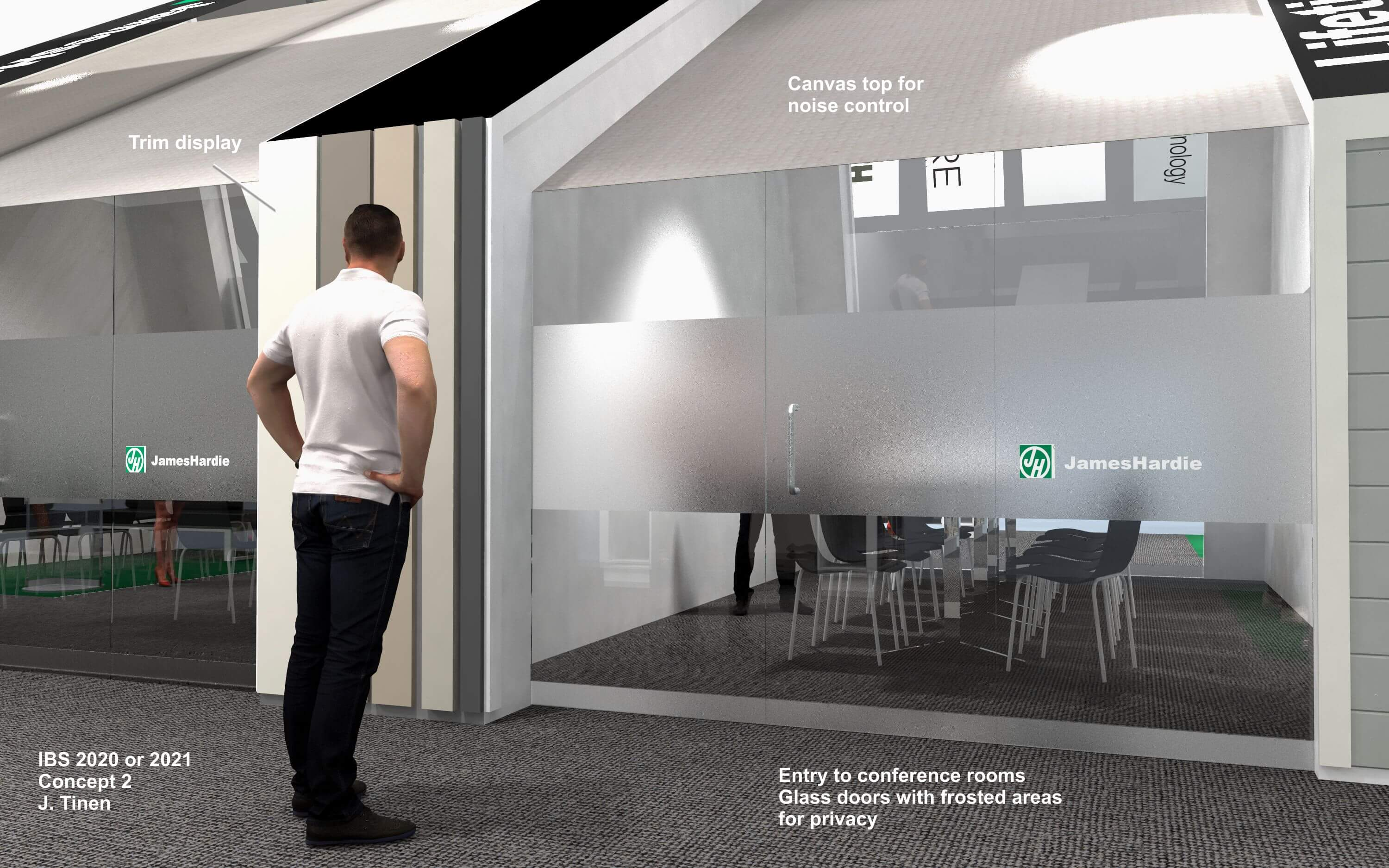 A concept rendering of the entrance to the board room for the James Hardy trade show booth, International Builder's Show (IBS) 2020.