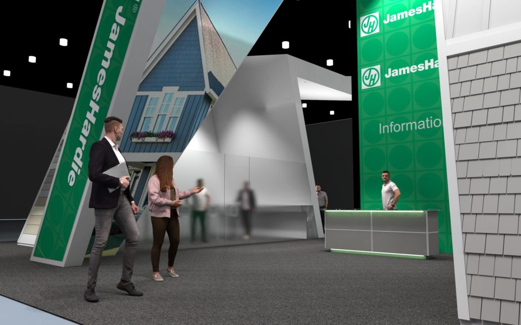 A concept rendering of the front of the James Hardie trade show booth, International Builders Show (IBS) 2020.