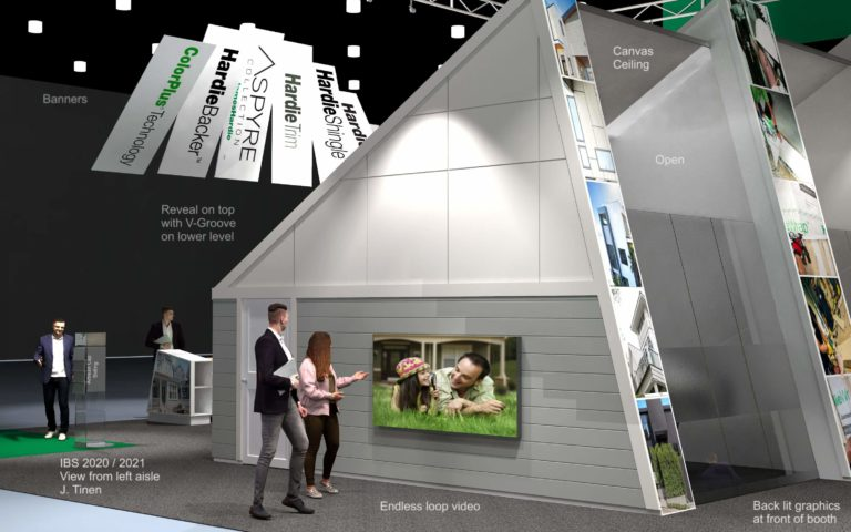 A concept rendering of the view from the left side of the James Hardy trade show booth, International Builders Show (IBS) 2020.