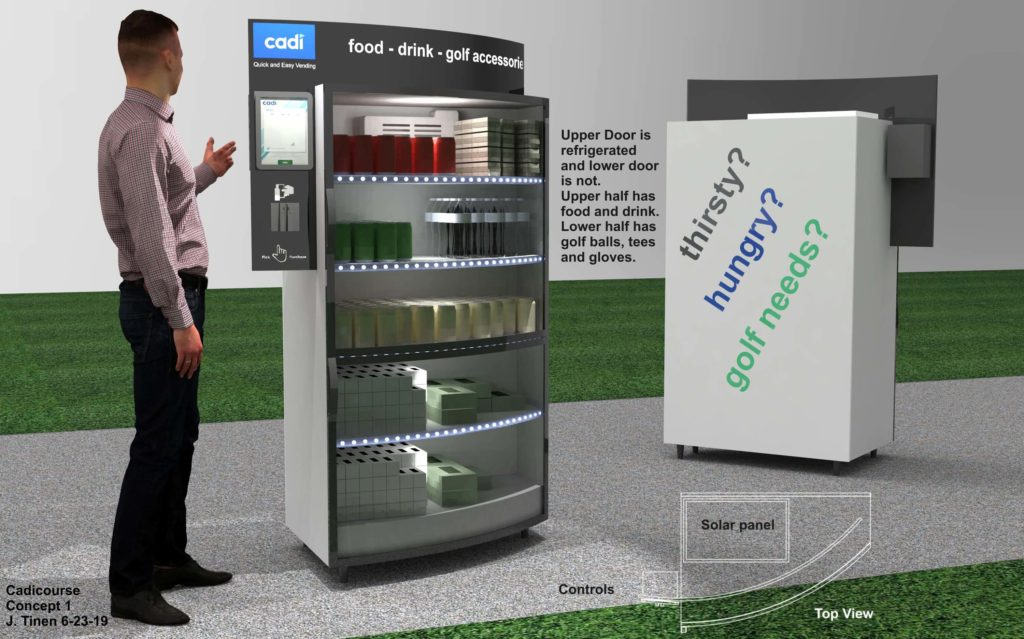 A concept rendering of the Cadi Course Vending Machine.