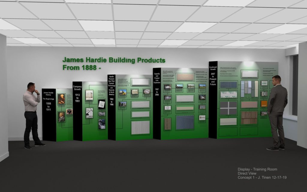 Rendering of a display for a Corporate Training Room showing the history of product, manufacturing and performance development