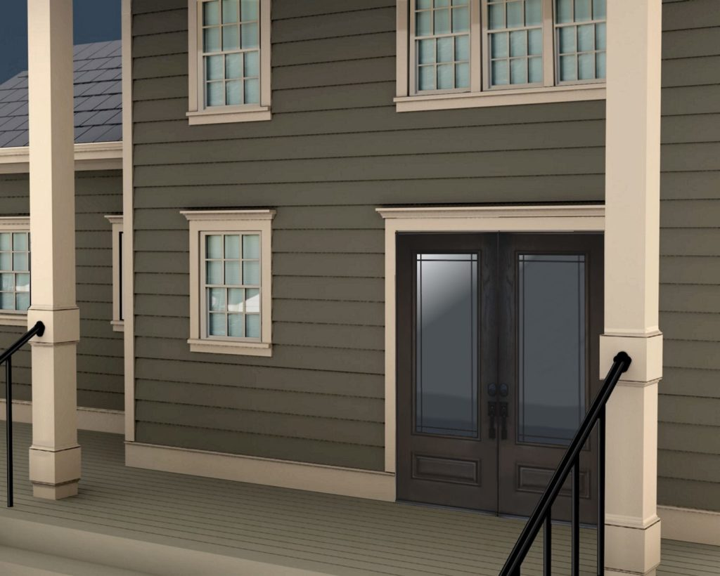 Rendering showing Mouldings options around doors, windows, columns and along the decking