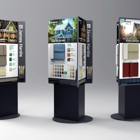 Rendering of Rotating Product Display Kiosk with interchangeable panels.