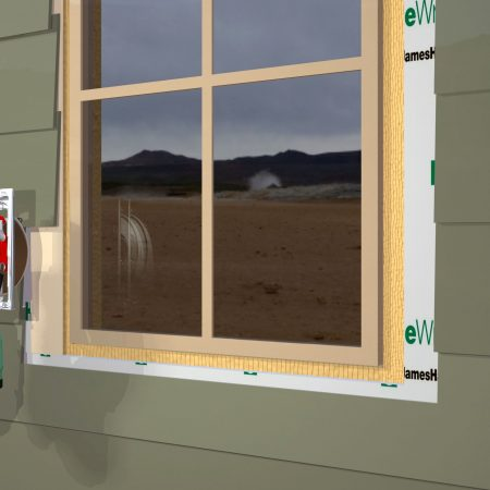 Illustration showing the siding being cut away for window trim using a new dust collecting saw.
